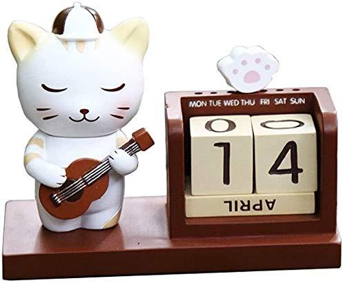 LAMTON Calendario de escritorio mini elefante bebé calendario perpetuo lindo animal calendario para niños regalos de cumpleaños (color de gato)