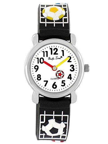 Pacific Time Kinder-Armbanduhr Fußball Jungen Mädchen Silikon Lernuhr Sportuhr Analog Quarz schwarz 20074