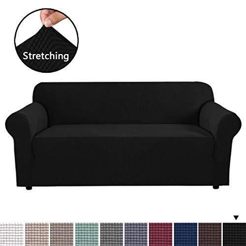 BellaHills Stretch-Möbelbezug, stilvoll, mit Jacquqard-Twill-Stoff, hoher Spandex, Lycra-Schonbezug, maschinenwaschbar, rutschfest, Schwarz, 3 Seater (173-245cm)