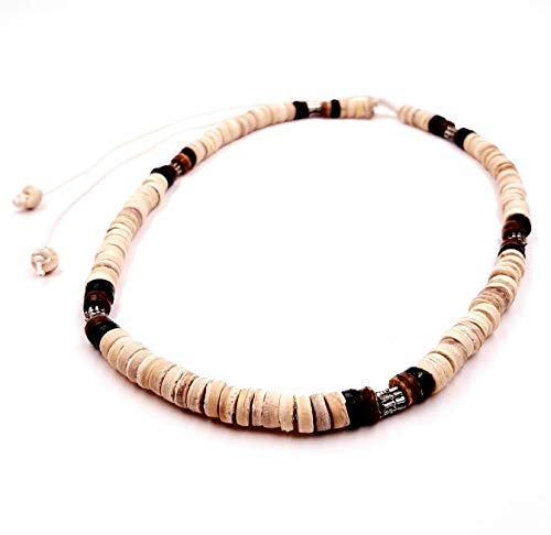 Collana da surfista in cocco etnico in legno con perline girocollo tribale, ciondolo unisex e bambino, colore: nero e marrone