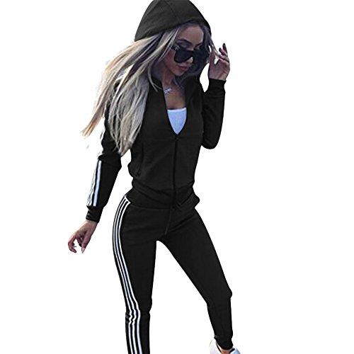Damen-Trainingsanzug, langärmelig, Reißverschluss, Kapuzenpullover + Hose, Jogginganzug, Sport, Yoga, Fitnessstudio, Workout-Outfit, 3 Farben Gr. 40, Schwarz