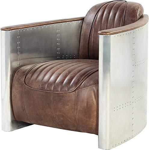 VBARV Sedia da Aviatore in Alluminio retrò,L'alluminio ha Una Finitura Opaca Leggermente angosciata per Un Look Vintage,Mobili industriali in Pelle Marrone Chiaro Stile Vintage