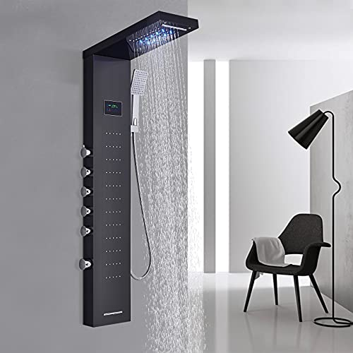 TVTIUO LED Panel de Ducha Columna de Hidromasaje Ducha,con ducha de mano,Boquillas de Masaje,Grifo de bañera,LCD Multifunción Sistema de Ducha,Negro
