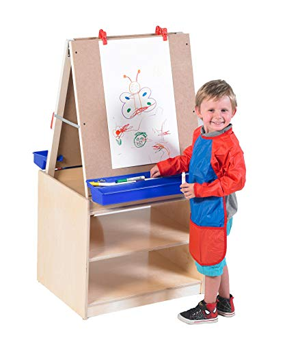 Angeles 2-Station Art Center, Kids Art Easel & Storage Unit, Toddler Classroom Furniture & Organization for Homeschool/Playroom/Daycare/Preschool