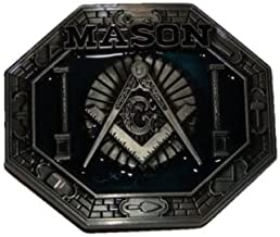 Moon Knives Mason Masonic Freemason Crest Blue Belt Buckle - Party Decorations Supplies For Parades - Prime Outside, Garden, Men Cave Decor Flag