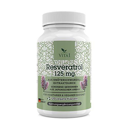 Resveratrol 125 mg - hooggedoseerd reveratrol uit Japanse boterenknopen wortelextract - 120 capsules - veganistisch - Made in Germany