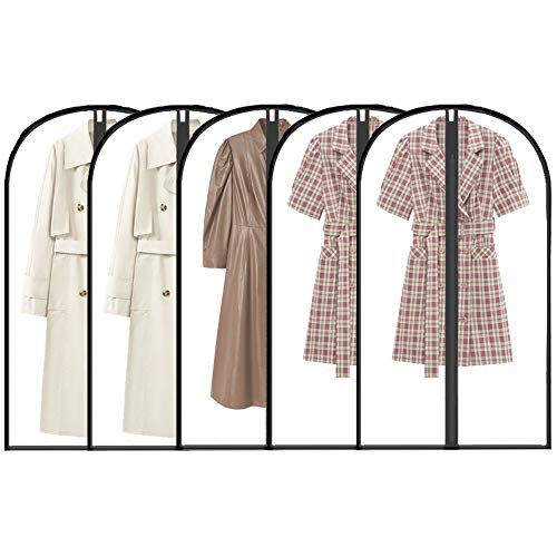 Moth Proof Garment Bags 60x120cm, 5 Packs Waterproof Clear Dustproof Clothes Covers Full Zipper Breathable Anti-Insect Coat Bags for Long Dress, Suit, Coats