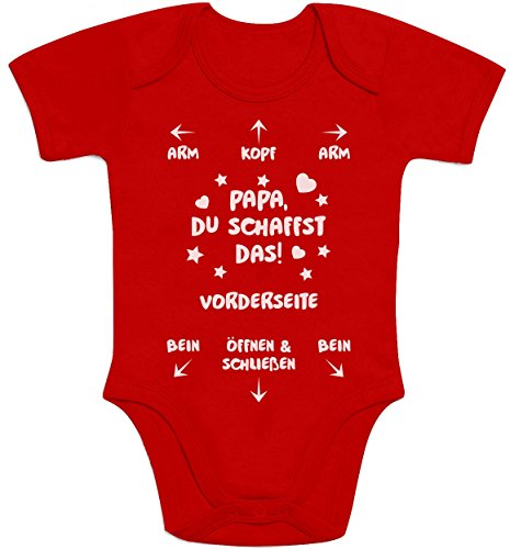 Shirtgeil Papa Du Schaffst Das - Witziges Strampler Motiv für Väter Baby Body Kurzarm-Body 0-3 Monate Rot