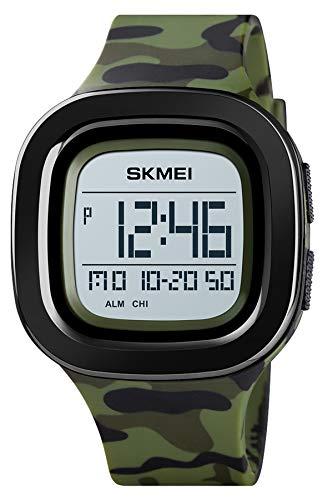 Uhr Herren Militär Sport Digital Eckig Zifferblatt Mode Wasserdicht Outdoor Laufen Stoppuhr Wecker LED Display Countdown Taktisch Männer Quarz Armbanduhr mit Silikon Armband