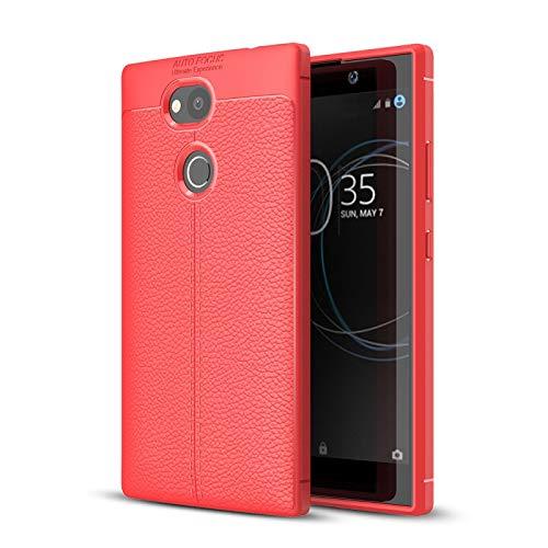 Custodie Sony per Sony Xperia L2 Litchi Texture Texture Soft TPU Caso di Copertura Posteriore Protettiva Custodie Sony (Colore : Red)