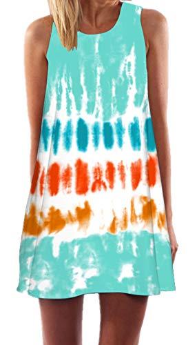 Ocean Plus Mujer Vintage Vestido Sin Mangas Cuello Redondo Vestido de Playa Vestido de Tirantes Camisetas Camisa Corta Vestido de Blusa (M (EU 36-38), Verde Naranja Amarillo)