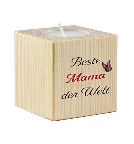 Teelichthalter mit Druck Beste Mama der Welt - als Geschenk/Geschenkidee Weihnachten oder Muttertag