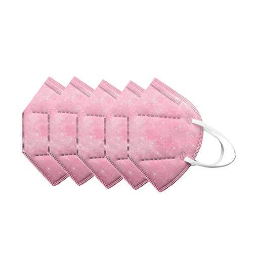 VEMOW 5 Capas Tela para Adultos Proteccion, Moda Encaje Bufanda Transpirables con Elástico para Los Oídos Bolsa para Trabajo Ciclismo Gimnasio Protección Actividades al Aire Libre(A1-5pc)