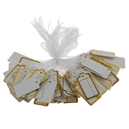 300Etiquetas con hilo, de cartón, para precios o joyería, colgantes, 23 x 13 mm, color oro blanco