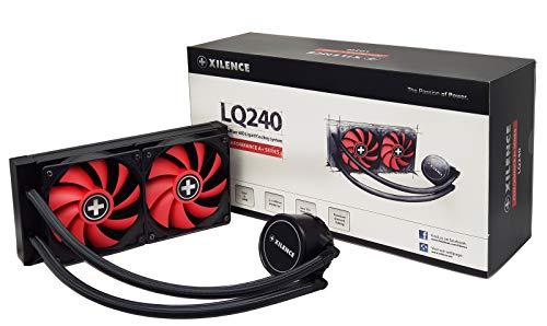 Xilence LiQuRizer   Liquid CPU Kühler   Wasserkühlung   XC975   Multi Sockel   AiO   240 mm Radiator   2x 120 mm PWM Lüfter   rot/schwarz