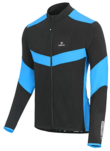 DEKO Herren-Thermo-Trikot, blau, himmelgelb, Fleece, langärmlig, rot, langärmlig, schwarz, anthrazit, langärmlig, Zyklus schwarz grün M Schwarz Himmelblau