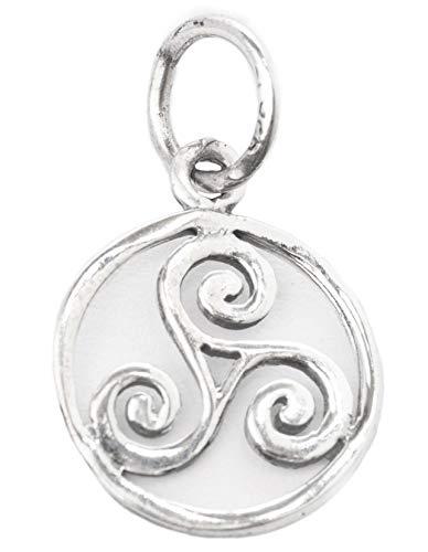 Windalf Irischer Schmuck Anhänger ÂWEN Ø 1.2 cm Kleine Vintage Triskele Keltisches Amulett Harmony Bohemia Silberanhäner 925 Sterlingsilber