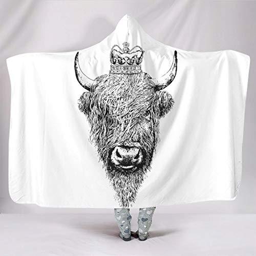 Knuffelig met capuchon deken grappig zwart en wit koningshoogland koe Vieh geschilderd schilderij Wilde Yak afbeelding druk warmer winter Sherpa fleece draagbaar capuchon pullover camping stoel slaapkamer
