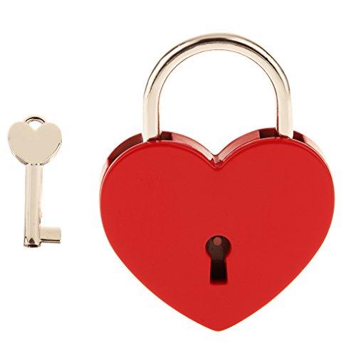 Vintage Personalisierte Liebesschloss Herz Vorhängeschloss Herzform Schloss Herzform Vorhängeschloss Mit Schlüssel Reise Schließfach-Set - Rot