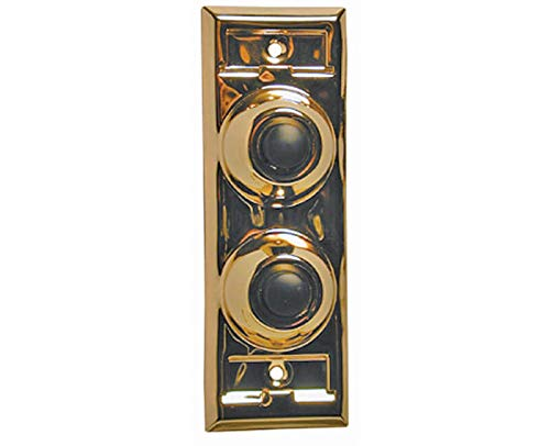 Lee Electric #BC203 Brass Wired Classic Two Gang Family Unlighted Push Button With Black Button For Bell