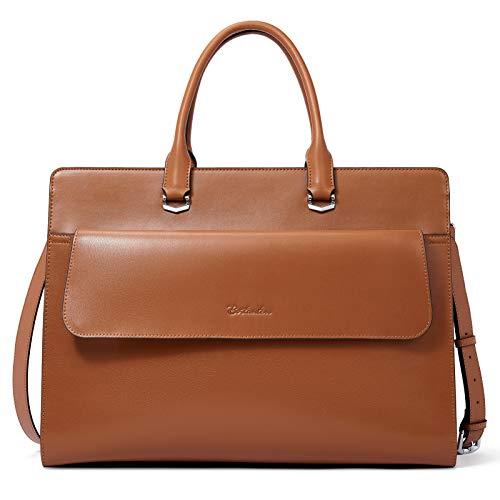 BOSTANTEN Damen Leder Laptoptasche 15.6 Zoll Aktentasche Frauen Businesstasche Schultertasche Henkeltasche Bürotasche Umhängetasche Braun