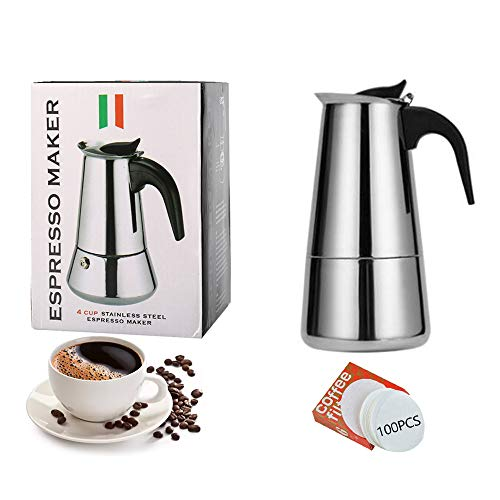 Bestine Stainless Steel Moka Pot Stovetop Espresso Coffee Italian Induction Maker Percolater with 100 Pieces Paper Filters (2 Cup,Straight)