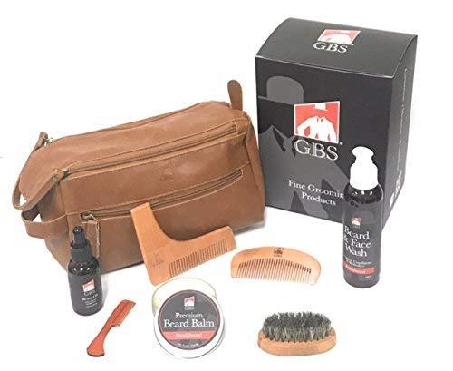 Premium Beard Grooming Doppler Kit- Upgraded Travel Bag + Boar Bristle Beard Brush, Beard Shaping Template, Mustache Comb, Wood Beard Comb with Sandalwood Beard Balm, Beard Oil + Beard Wash
