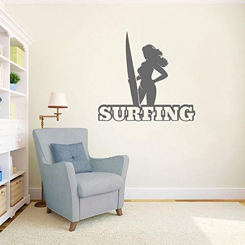 Dwzfme Pegatinas de Pared Adhesivos Pared Mujer Sexy con Tabla de Surf Que Practica Surf Arte de la Pared hogar Dormitorio y decoración de la habitación del Hotel extraíble 86x78cm