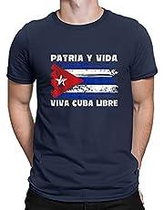 Viva Cuba Libre Patria Y Vida Cuba Vlag Cubaanse revolutie Vintage zomer shirt zwart top Tee mannen nieuwigheid T-shirt