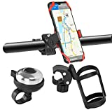 Lzttyee 3 Pack Kids Bike Water Bottle Holder No Screws Adjustable Bottle Cage Holder for Bike with Silicone Phone Holder and Aluminum Bell Bike Accessories