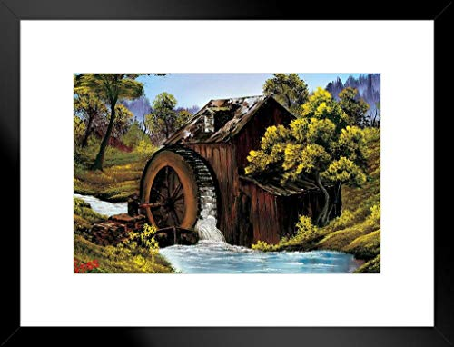 ProFrames Poster Gießerei Bob Ross The Old Mill Kunstdruck, Gemälde Framed Matted in Black Wood 20x26 inch Mehrfarbig / 2196