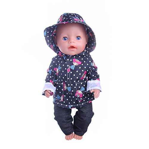 P Prettyia Puppe Kleidung Regenmantel + Hosen + Hut Outfit Für 18 Zoll amerikanisches Mädchen Puppen ( 3pcs / Set ) - Schwarz