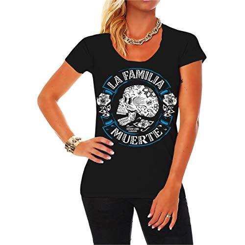 Spaß kostet Frauen und Girls Tshirt La Familia Muerte (mit Rückendruck) Größe XS - 3XL