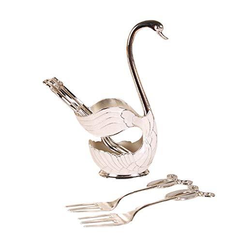 Metal Swan Base Spoon Fork Holder Set Coffee Fruit Dessert Flatware Dinnerware Set with 6 Forks or 6 Spoons Silver Fork One Size