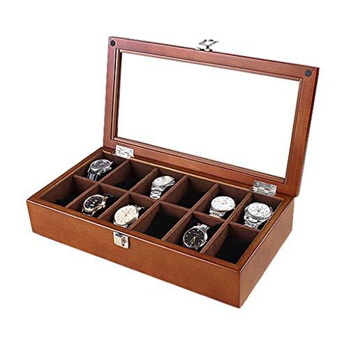 Kücheks Caja de Reloj, Caja organizadora Case-Vitrinas Premium de 12 Ranuras con Tapa de Vidrio, para Hombres y Mujeres