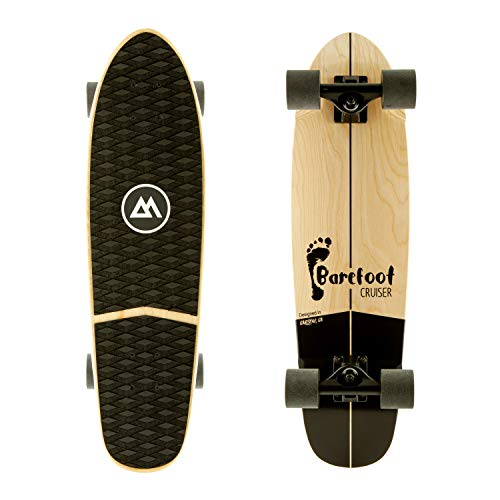 Magneto Barefoot Mini Cruiser Skateboard | EVA Stomp Pad Grip Tape | Short Board | Canadian Maple Deck - Designed for Kids, Teens and Adults (Barefoot) (Barefoot-Cruiser)