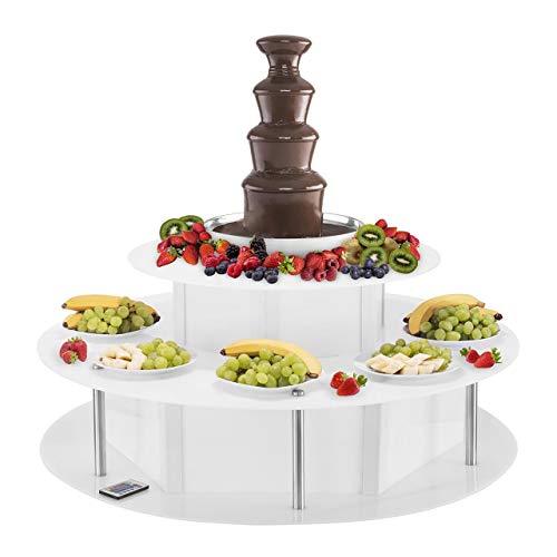 Royal Catering RCCF-SET1 Fontaine a Chocolat Professionnelle Électrique Fondue au Chocolat avec Base Lumineuse (6 kg, 230 W, 4 Étages, 16 Couleurs, 6 Effets, Télécommande) Acier Inox