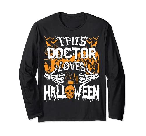 Este mdico ama Halloween Huesos Cirujano Divertido Mdico Manga Larga