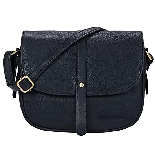 STILORD \'Kira\' Umhängetasche Frauen Leder Vintage kleine Handtasche zum Ausgehen Klassische Abendtasche Partytasche Freizeittasche Echtleder, Farbe:schwarz