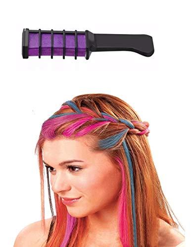 Haarkreide Kamm, lila, für 1 Tages Anwendung, schöner Color Effekt, leicht auswaschbar, Festivalkracher und Weggeh tauglich