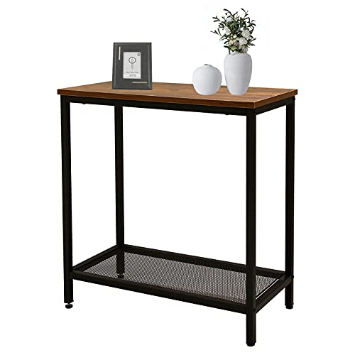Side Table, End Table with Storage Shelves, 30% Thicker Steel Pipe, Industrial Narrow End Table for Living Room, Nightstand or Small Spaces, Bedroom, Easy Assembly, Steel, Industrial Design