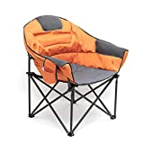 SUNNYFEEL Oversized Club Camping Chair, Moon Round Saucer Chair, Padded/Cushion, Heavy Duty, Supports 500 LBS, Portable Folding Chair with Armrest&Cup Holder for Lounge/Patio with Carry Bag (Orange)