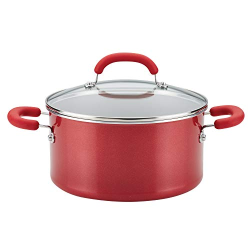 Rachael Ray Create Delicious Nonstick Stock Pot/Stockpot with Lid - 6 Quart, Red