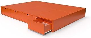 ABC MEUBLES - Lit Cube Deux Places avec tiroirs - LITCUB - Orange, 140x200