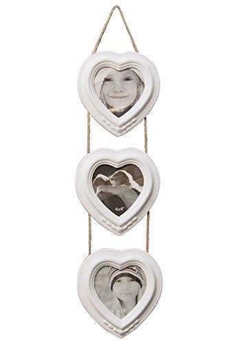 Bilderrahmen Vintage-Design 3er Ampel Herzen weiß matt lackiert ca. 57x15 cm für Fotos 10x10 cm