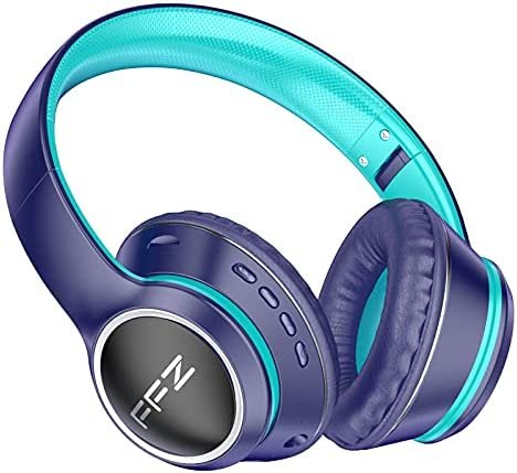 FFZ K21 Wireless Kids Headphones, Colorful LED Lights Blue Tooth-V5.0 Headphones Built-in Microphone, Foldable Headset & Soft Earpads, for School/Car/Airplane/Ipad(Navy Blue)
