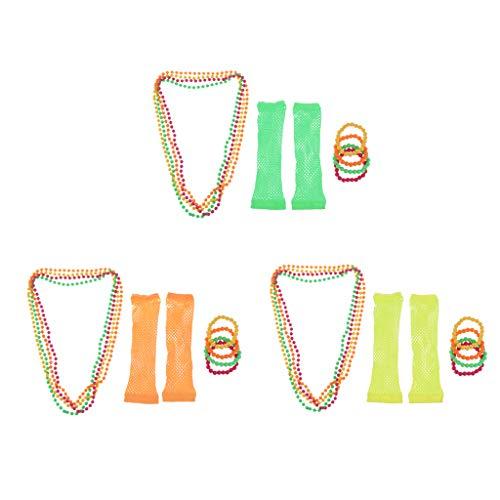 Colcolo 27 Pieces Women's 60s 80s Beads Necklace Bracelet Long Fishnet Gloves Prop