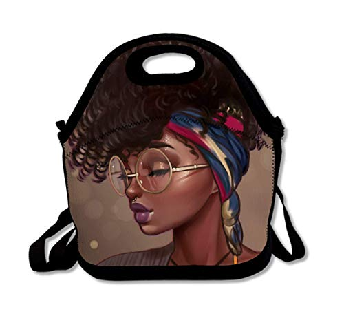 LeosWare Neoprene African Women Lunch Bag Insulated African American Women Folk Black Art Lunch Backpack Lunchbox Handbag with Adjustable Shoulder Strap Best Gift for Men Women Teen Boys Girls