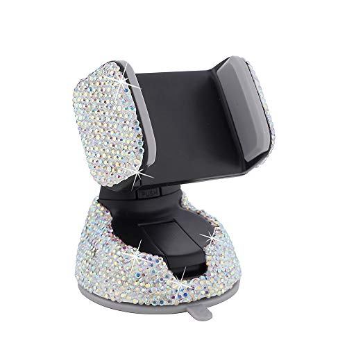 Rhinestone Phone Holder,,Car Phone Holder Adjustable Universal , Air Vent 360 Adjustable Windshield Dashboard Cute Accessories ,Easy to View GPS Screen (Colorful)