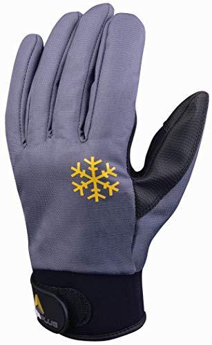 Deltaplus VV903GR11 Strickhandschuh Aus Polyester Mit Pu-Beschichtung Handrücken Und Pu/Polyester Handfläche, Grau-Schwarz, Größe 11